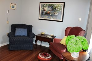 Livingroom shot of the 1-bedroom suite at Riverview