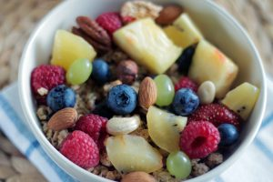 Beautiful bowl of mixed fruit and nuts from Riverview's Independent living community