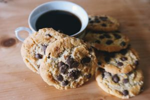 A cup of coffee and some chocolate chip cookies at Riverview in Carlton Place