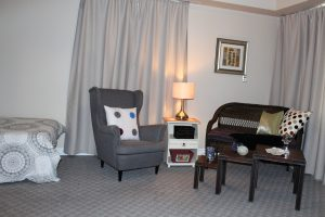 living room shot of the studio 7 suite at Riverview