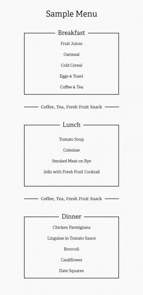 Sample Riverview menu